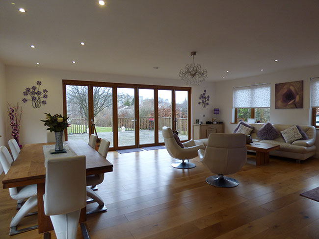 oak flooring in modern open living space