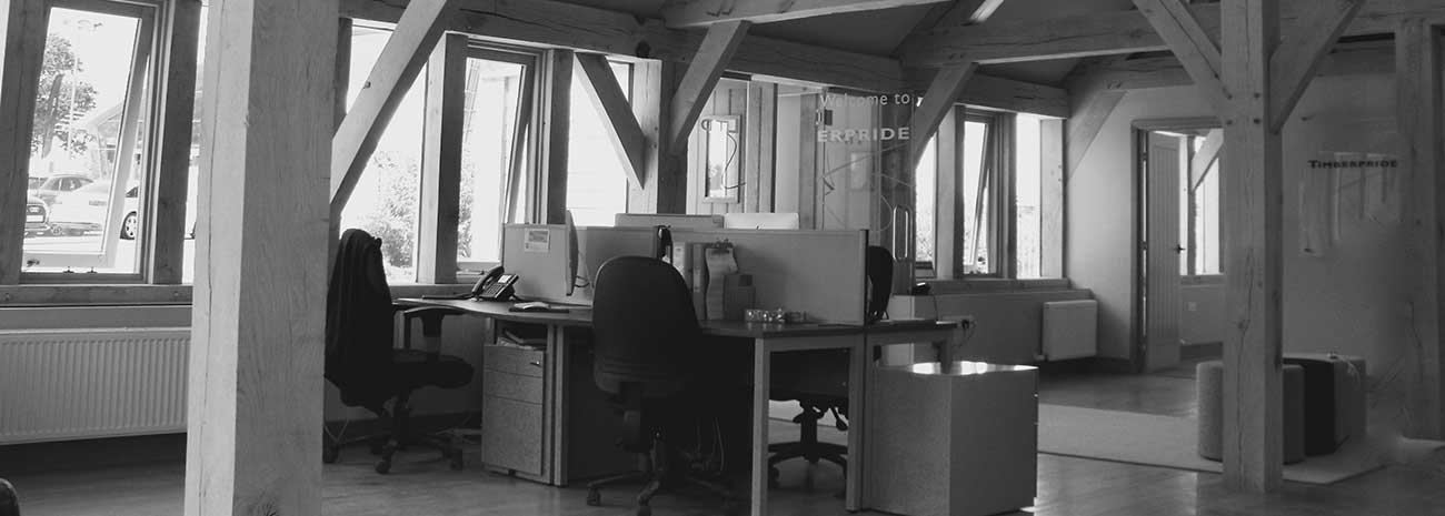 Black and White Photo of Timberpride Office in Tetbury