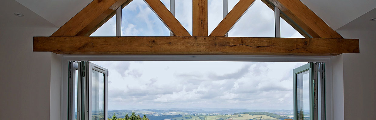 Oak Beam and Trusses on Balcony