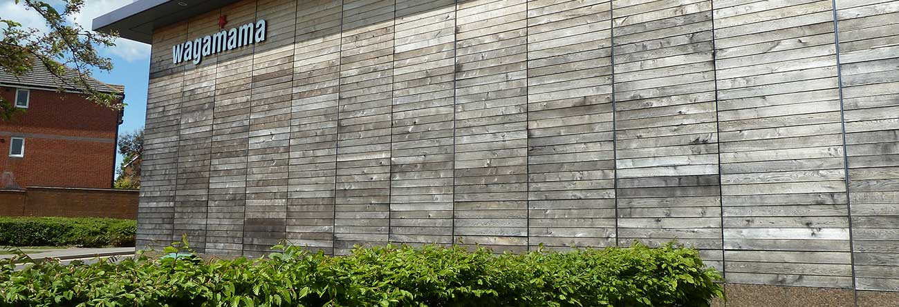 Oak Cladding on Wagamama Restaurant