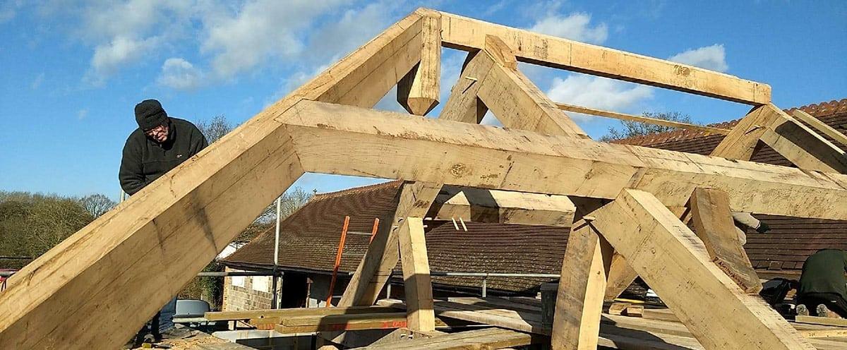 Oak Roof Truss in Construction