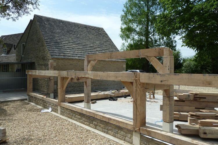 Oak Frame Extension in progress